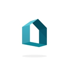 Blue 3d abstract geometric home logo house vector image vector image