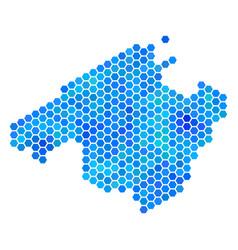Blue hexagon spain mallorca island map vector