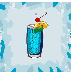 blue lagoon classic cocktail alcoholic bar drink vector image