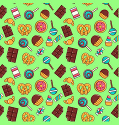cake pattern seamless cartoon style vector image