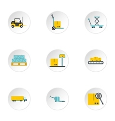 Cargo icons set flat style vector