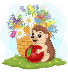 cartoon bahedgehog with apple and flowers vector image