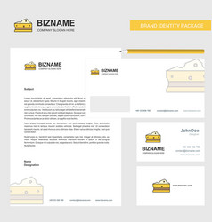 cheese business letterhead envelope and visiting vector image