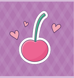 cherry hearts love patch fashion badge sticker vector image