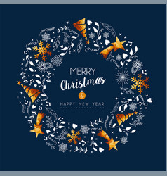 christmas and new year gold low poly wreath card vector image