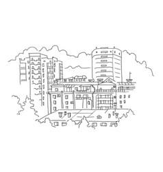 city landscape high-rise buildings sketch vector image