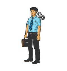clockwork office worker sketch vector image