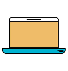 color sections silhouette of laptop computer vector image