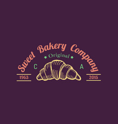 Croissant logo typographic poster sweet vector