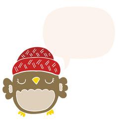 Cute cartoon owl in hat and speech bubble in vector