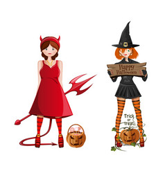Cute girls in fancy dress for halloween vector