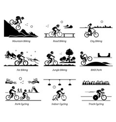 Cyclist cycling and riding bicycle in different vector
