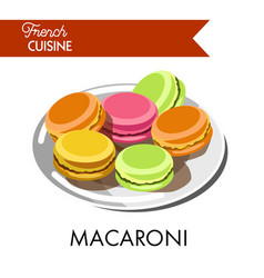 delicious colorful macaroni from french cuisine on vector image vector image