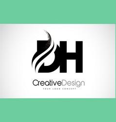Dh d h creative brush black letters design vector