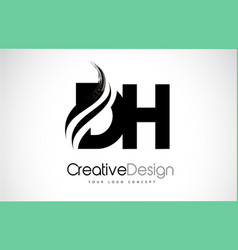 dh d h creative brush black letters design with vector image