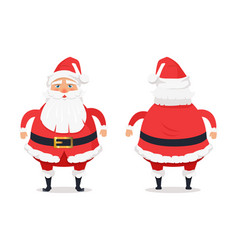 Different sides of santa claus on white background vector