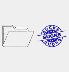 Dot folder icon and distress sucks stamp vector