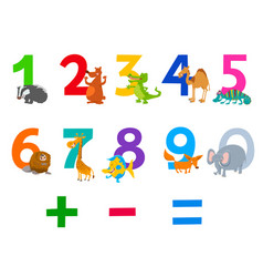 Educational numbers set with animals vector