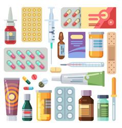 Flat pills medicine cartoon drugs tablets and vector
