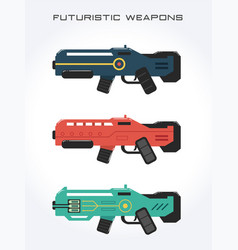 futuristic weapons isolated on white background vector image