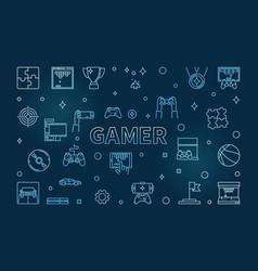 Gamer concept blue outline horizontal vector