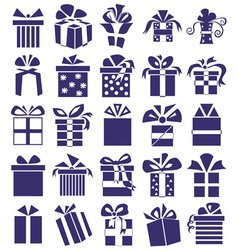 Gifts icons on white vector