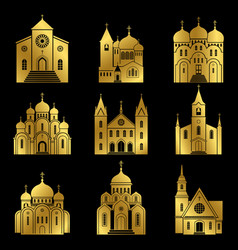 Gold christian church icons on black background vector