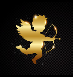 Golden valentine cupid silhouette isolated on vector