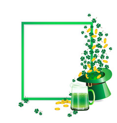 green beer and hat and coin vector image