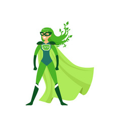 Green-haired girl superhero standing in proud pose vector