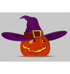 Halloween pumpkin and witch hat vector
