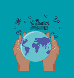 hand holding world planet social media vector image