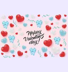 happy valentine day greeting banner with hearts vector image