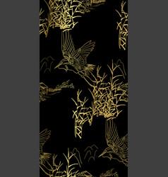 Heron bulrush seamless japanese chinese pattern vector