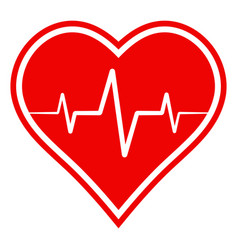 icon health sign heart with heartbeat vector image