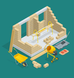 isometric construction of a brick house house vector image