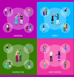 isometric dancing people characters banner set vector image