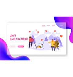 man character love woman winter landing page vector image