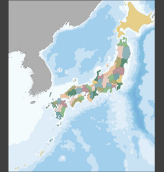 Map japan divided into 47 prefectures vector