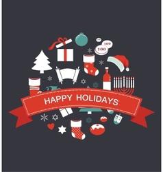 merry christmas and happy hanukkah seasonal vector image