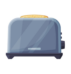 Metal toaster with grilled toast household vector