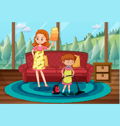 monther and daughter cleaning house vector image