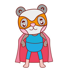 Nice panda with superhero costume and cape vector