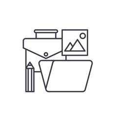 office tools line icon concept office tools vector image