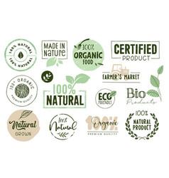 organic food stickers vector image