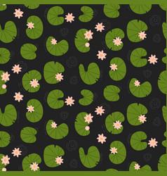 pink lotuses in dark pond top view seamless vector image