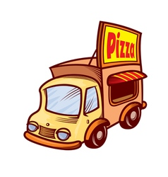 Pizza car vector