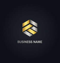 polygon shape company gold logo vector image