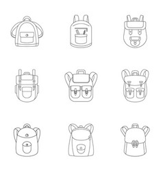 preschool backpack icon set outline style vector image
