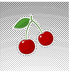 red cherry sticker on halftone background vector image